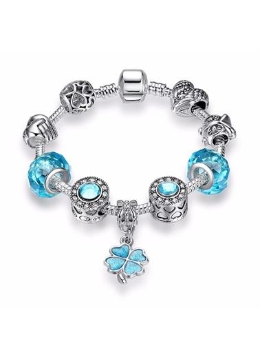 Mavi Dört Yapraklı Yonca Kristal Charmlı Bileklik-Angemiel